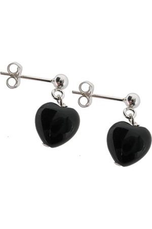 Earth Onyx Heart Drop Earrings on Sterling Silver Ball Stud - from the Collection