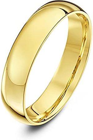 THEIA Unisex Heavy Court Shape Polished 18 ct Gold 4 mm Wedding Ring - Size T