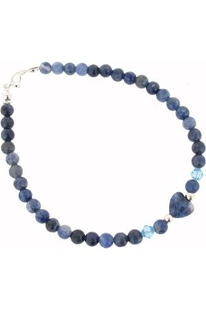 Earth Skinny Heart Bracelet in Sodalite of Length 20cm