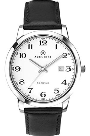 Accurist Mens Analogue Quartz Watch with Leather Calfskin Strap 7026