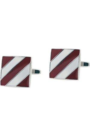 Code Red Base Metal Rhodium Plated Square Cufflinks with and Enamel Diagonal Stripe