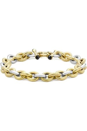 Carissima Gold 9ct 2 Colour Gold Textured/Polished Bracelet of 18cm/7""