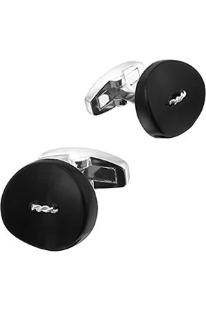 Code Red Men's Silver Plated Button Base Metal Cufflinks