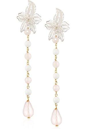 MISIS Marisol Women's Earrings 925 Silver Multicoloured Agate Gemstone Oval OR08624R - 9 CM White