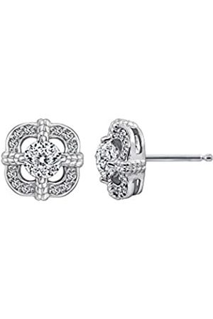 La Lumiere Platinum Plated Sterling Silver Swarovski Zirconia Antique Frame Halo Stud Earrings