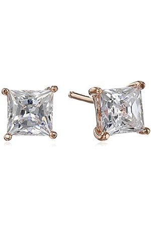 La Lumiere Rose Plated Sterling Silver Made with Cubic Zirconia from Swarovski® Princess-Cut Stud Earrings (1.5 CTTW)