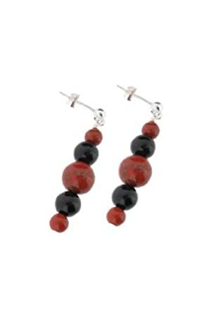 Earth Jasper and Black Onyx Beaded Earrings at 3.5cm in Length