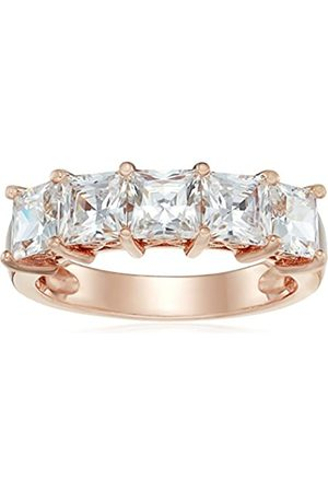 La Lumiere Rose Gold-Plated Sterling Silver Swarovski Zirconia 3 cttw Princess Cut 5 Stone Ring L1/2
