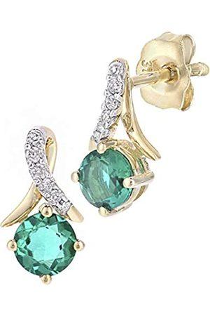 Naava 9ct Yellow Gold Round Emerald and Diamond Twist Drop Earrings