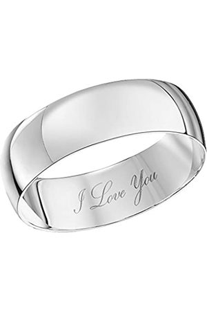 THEIA Unisex 9 ct Gold Heavy D Shape, Engraved I Love You