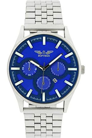 SOFTECH London Mens Analogue Classic Quartz Watch with Stainless Steel Strap SE390 Chrome Blue