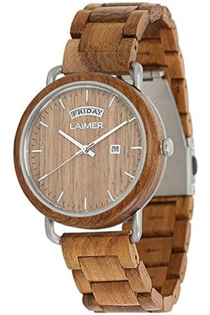 Laimer Mens Analogue Quartz Watch with Wood Strap 112