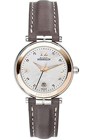 Michel Herbelin Women's Analogue Quartz Watch with Leather Strap 14264/TR59GR