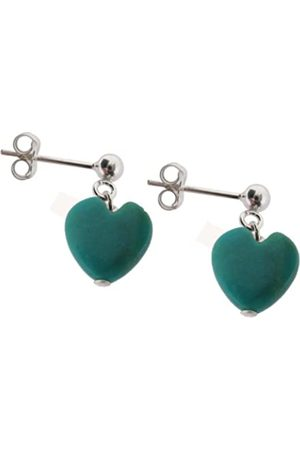Earth Turquoise Heart drop earrings on Sterling Silver ball stud - from the Collection