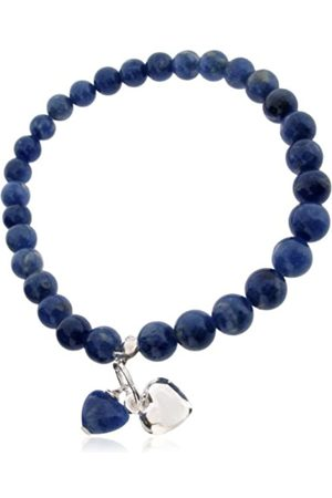 Earth Dark Sodalite Heart and Sterling Silver Heart on Dark Sodalite Beaded Stretch Bracelet - from the Collection