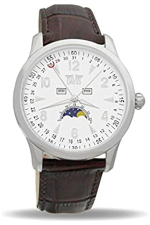 Davis 1501 - Mens Moon Phase Watch Triple Date White Dial Leather Strap