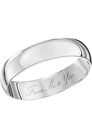 THEIA Unisex 9ct Gold Heavy D Shape Engraved 'from Me to You' Polished 4mm Wedding Ring - Size W