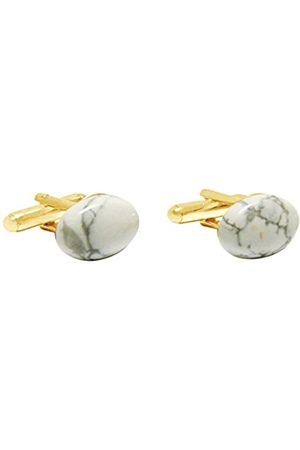 GemShine Cufflinks - 18k gold plated - Howlite Gemstone - 16mm - - Grey