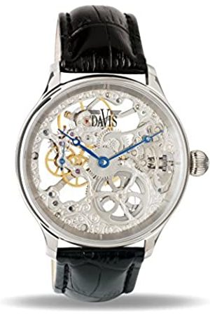 Davis 0890 - Mens Skeleton Watch Hand wind Mechanical Movement leather Strap