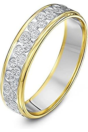 THEIA Unisex 9 ct White and Yellow Gold Heavy Flat Diamond Cut 5 mm Wedding Ring
