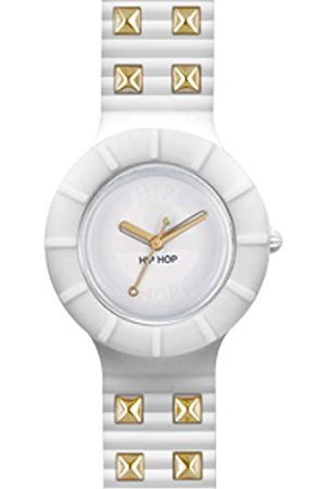 Hip HIP-HOP Ladys' Rock Watch Collection with Logo White dial 3 Hands Quartz Movement and Silicon and Glam White Strap HWU0248