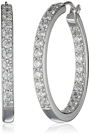 La Lumiere Platinum Plated Sterling Silver and Made with Cubic Zirconia from Swarovski® (3cttw) Inside-Out Hoop Earrings