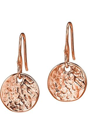 Dower & Hall Nomad Rose Plated on Sterling Silver Beaten Flat Disc Drop Earrings of Length 2.5cm