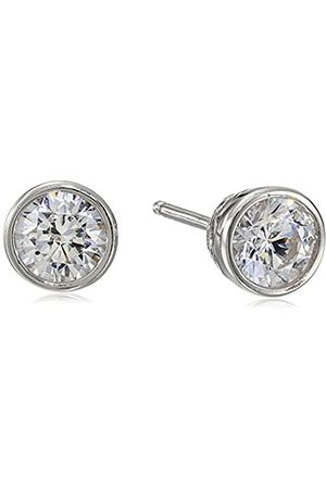 La Lumiere Platinum Plated Sterling Silver Made with Cubic Zirconia from Swarovski® (1cttw) Bezel Stud Earrings
