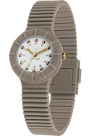 Hip Ladys' GO Glam Watch Collection Mono-Colour White dial 3 Hands Quartz Movement and Silicon Brown Strap HWU0973