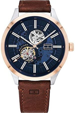 Tommy Hilfiger Men's Analogue Automatic Watch with Leather-Calfskin Strap 1791642