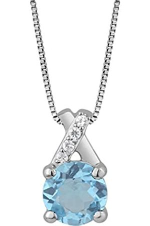 Jewelili Sterling Silver Crossover Gemstone Pendant With Chain