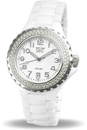 Davis Elegance Ceramic Quartz Watch, Waterproof, with Chronograph, Ceramic Bracelet and Case