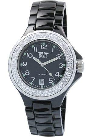 Davis Elegance Ceramic Quartz Watch, Waterproof, with Chronograph, White Ceramic Bracelet and Case