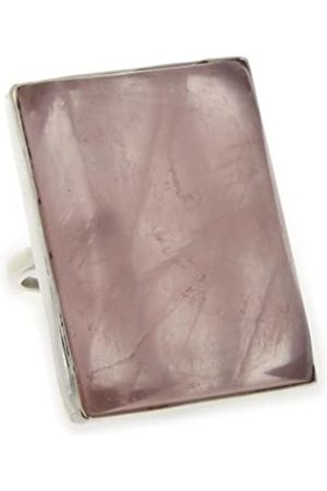 Nova Silver Bemine Large Rectangle Rose Quartz Ring In Size N