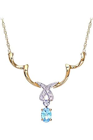 Naava Women's Diamond and Blue Topaz Necklace, Prong Set, 9 ct White Gold Trace Chain