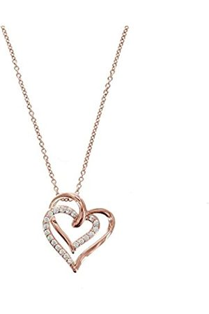 La Lumiere Rose Gold-Plated Sterling Silver Swarovski Zirconia A Couple Open Heart Adjustable Pendant Necklace
