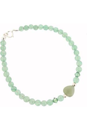 Earth Skinny Heart Bracelet in Aventurine of Length 20cm