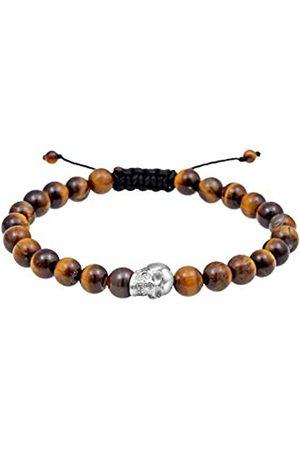 Paulo Fanello Men Skull Tiger Eye 925 Sterling Silver Bracelet of Length 19cm 0203921317_19