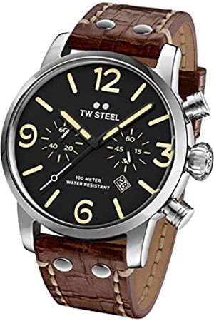 TW steel Maverick Unisex Quartz Watch with Black Dial Chronograph Display and Brown Leather Strap MS3