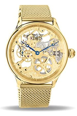 Davis 0895MB - Mens Skeleton Watch Gold Hand Wind Mechanical Movement Mesh Milanese Strap
