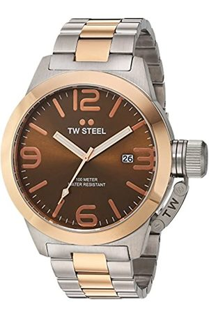 TW steel Canteen Men's Quartz Watch with Brown Dial Analogue Display and Grey Stainless Steel Rose Gold Plated Bracelet CB152