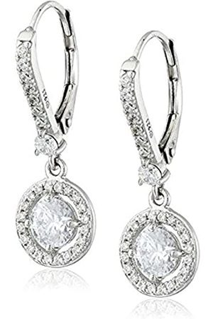 La Lumiere Sterling Silver Platinum Plated Made with Cubic Zirconia from Swarovski® (1cttw) Halo Drop Earrings