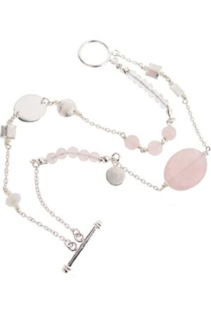 Earth Sterling 20cm Double Row Bracelet with Rose Quartz Beads