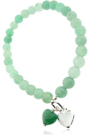 Earth Aventurine Heart and Sterling Silver Heart on Aventurine Beaded Stretch Bracelet - from the Collection