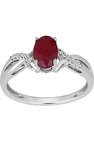 Jewelili Sterling Silver Oval Gemstone Crossover Ring