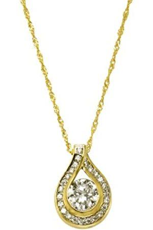 CELESTA Women's Necklace 9 Carat (375) Bicoloured Zirconia 43 CM 500341164–2-43