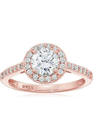 La Lumiere Rose -Platinum Plated Sterling Silver Swarovski Zirconia 1.5 ct Round Center Halo Ring Size P1/2