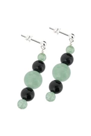 Earth Aventurine and Black Onyx Beaded Earrings at 3.5cm in Length