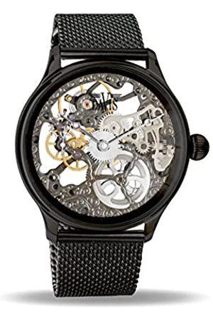 Davis 0899MB - Mens Skeleton Watch Hand Wind Mechanical Movement Mesh Milanese Strap