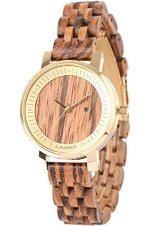 Laimer Wood watch JENNI – women's wristwatch made of 100% Zebrano wood with stainless steel case and Swarovski crystals